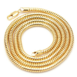 Mens Womens Snake Chain Necklace 20 Inches Long 2mm Gold Jewelry Hip Hop Chains