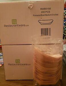 "400 pcs 6"" long Light Brown Natural PineWood Boats Disposable Party Plates"
