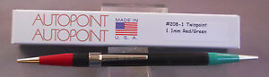 Autopoint Twinpoint  Pencil  l.lmm red----l.lmm green---AMERICAN MADE #208