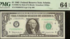 1963 $1 DOLLAR BILL FEDERAL RESERVE MULE NOTE OLD PAPER MONEY 1900-Fm PMG 64 EPQ