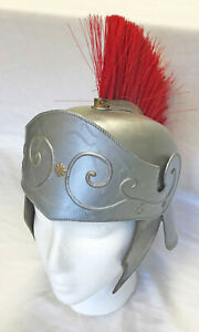 Silver Roman Centurion Gladiator Helmet with Red Brush Maximus Halloween Costume