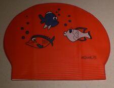 New in Bag AQUALIS Adult RED three fish print Latex Swim Cap - Swimming