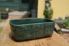 VINTAGE...ESTATE......BRUSH POTTERY.....DARK GREEN / AQUA.....PLANTER....U.S.A