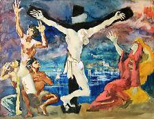 Georg Pevetz 1893-1971 Wien Aquarell expressive Kreuzigungsszene Farbskizze 1931