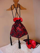 Victorian Ladies Civil War Gothic Black & Red Satin & Lace Reticule Purse Sass