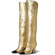 Occident Women Runway Block Heel Pointy Toe Overknee Long Boot Size 34-43 Club L