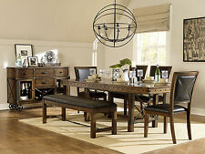 LANSING 6 pieces Dining Room Furniture Brown Rectangular Table Bench Chairs Set