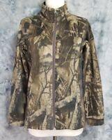 Columbia Womens sz L Brown Green Tree Camo 2 Pocket Full Zip Thin Fleece Sweater