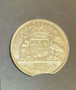Error Clip 1963 Australia Florin Silver coin