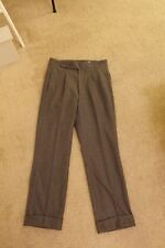 Epaulet Grey Wool Flannel Single Pleat Dress Pants Actual Waits 33 Made in USA