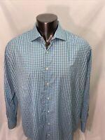 Peter Millar Size XL Wicking Button Down Long Sleeve Shirt  Blue Check