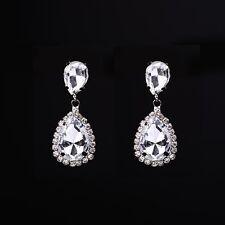 Silver Rhodium Plated Rhinestone crystal drop earring Wedding Pageant Earrings