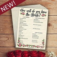 Hen Party Game How Well Do You Know The Bride | 10 PACK | Hen Night Accessories