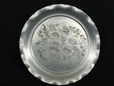 VINTAGE CORONET SILVER CO HAMMERED ALUMINUM TRAY PLATTER FLOWERS