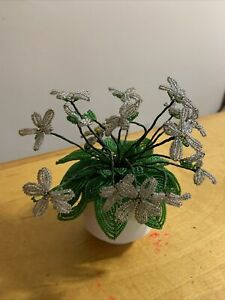 "VTG  french beaded  Gray  flowers  With 2-1/4"" Aynsley Pot  A11"