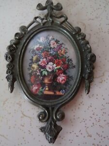 Victorian Ornate OVAL Brass Picture Frame FLORAL Made in ITALY
