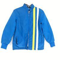 Great Lakes Jacket Vintage Blue Yellow White Stripe Boys Size 16 FLAWS