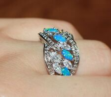 fire opal topaz ring gems silver jewelry Sz 6 8 cocktail engagement wedding band