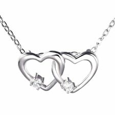 STERLING SILVER NECKLACE LOVE HEART CHARM PENDANT CRYSTAL GIFT FOR HER LOCKET