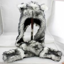 3 in 1 Multifuctional Wolf Faux Fur Animal Hood Winter Warmer Hat with Scarfs