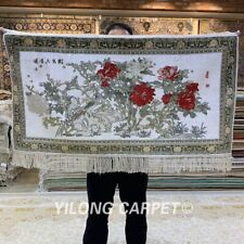YILONG 2'x3' 400Line Peony Pattern Tapestry Silk Carpet Floral Area Rug 071H