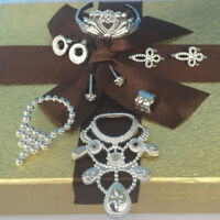 10Pcs Party Jewelry Necklace Earring Crown Bracelet For Dolls