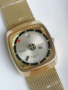 Vintage Zodiac Lelocle Astrographic SST Gold Mystery Dial  Automatic Watch