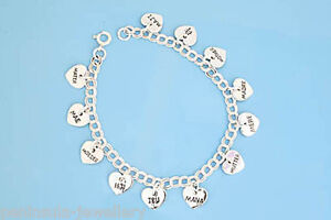 Sterling Silver Charm Bracelet Mothers Day Mum Gift Boxed