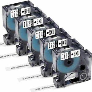 5X Compatible DYMO D1 LabelManager 45013 12mm Black on White Label Tape S0720530