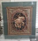 Antique Burmese Kalaga Wall Tapestry Textile Sequin & Bead Elephant ~Lucite Case