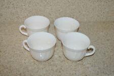 Lot of 4 Arcopal France Vintage  Swirled Opaque White Glass Tea Cup Coffee Mug