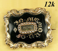 Antique Victorian Mourning Brooch, Enamel on 12K Gold, Hair Locket c 1840s, ID'd