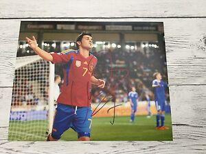 David Villa Signed Team Spain 8x10 Photo PROOF Autographed Barcelona FC b