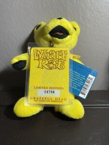 """NWT VTG Liquid Blue Grateful Dead Bean Bear 7"""" Wharf Rat W/ Backstage Pass"""