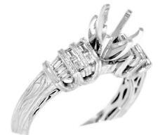 VS1 Natural 0.37ct Diamond Ring Setting 18k White Gold Engagement Baguette