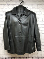 Style & Co Women's Leather Jacket Coat Buttons Pockets Black Butter Soft 16W