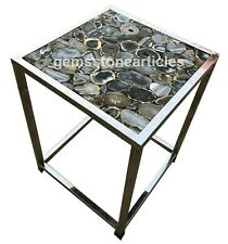 """24"""" Black Agate Handmade Modern Coffee Table Top Garden Decor Good Wishes Gifts"""