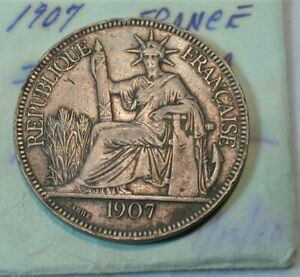 1907 France Indo-China Piastre Silver Crown  (988)
