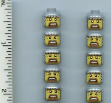 LEGO x10 Minifig, Head Balaclava with Face Hole, Chain Mail, Brown Beard Vikings