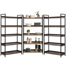 3 x 5 Tier Contemporary Industrial Bookshelf/Shelving Unit Oak finish 1750mmH