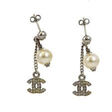 Auth CHANEL CC Pierce Rhinestone Imitation Pearl Silver Accessory Vintage 07Z790