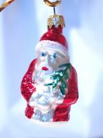 Old World Christmas Santa holding tree silvered glass ornament hand painted