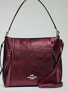 COACH Marlon Signature Metallic Wine Leather HOBO Convertible Shoulder Bag