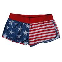 USA Flag Women's Running Athletic Distressed American Patriotic Shorts Pocket
