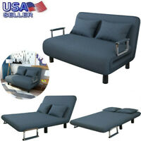 Convertible Sofa Bed Sleeper Couch Lounge Chair Adjustable Leisure Recliner Blue