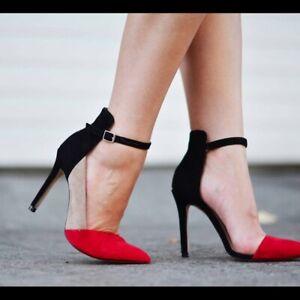 Zara Color Block Red Black Nude Ankle Strap Heels  SIZE:UK 4, EU 37