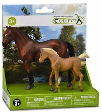 CollectA 1:24 Scale Bay Hanoverian Stallion & Chestnut TWH Foal Set - 89255