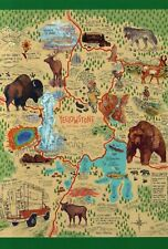 Yellowstone National Park Wyoming, Old Faithful, Bear, Bison etc. - Map Postcard