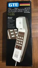 Vintage GTE Push Button Desk Top Telephone Beige Wood Grain Retro Awesome Phone