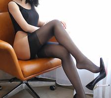 Lady Thigh High Sheer Black Cuban Heel Back Seam Stocking Burlesque Rockabilly